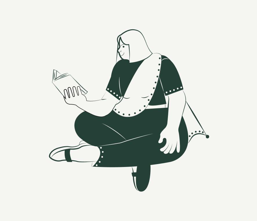 Ilustración persona leyendo libro