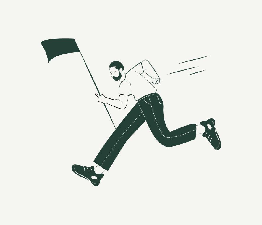 Ilustración persona alcanzando meta