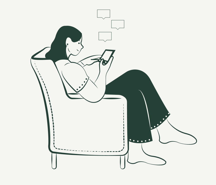 Ilustración persona chateando con el móvil
