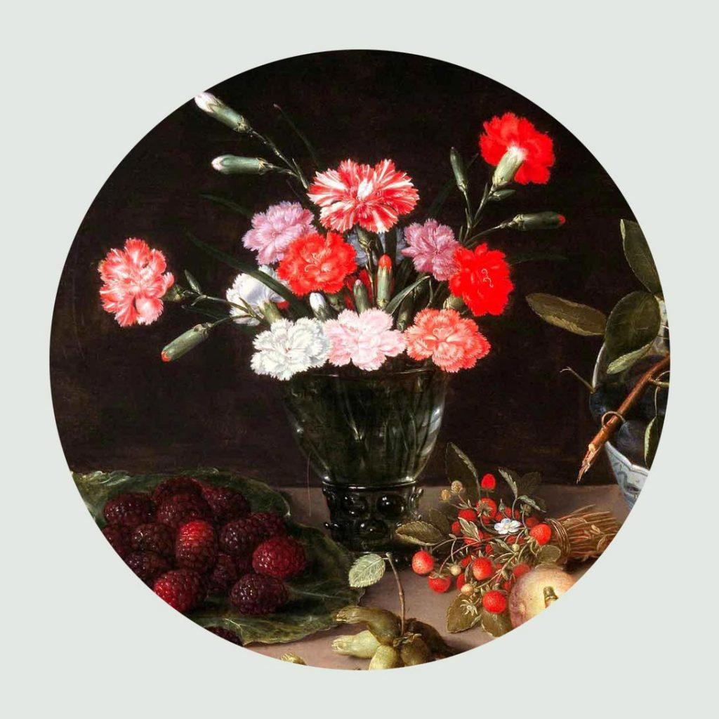 Imagen de un bodegón clásico con flores y frutas